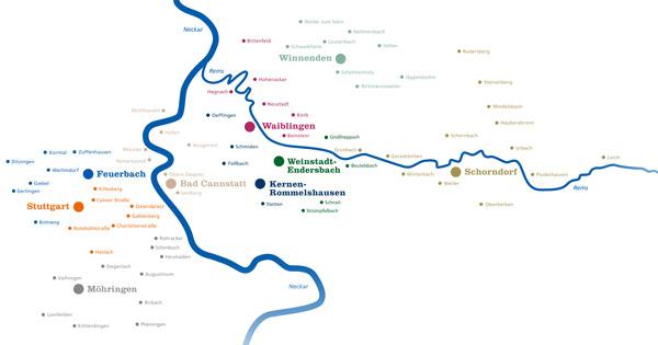 Wir sind für Sie da: Über 100 Mal an Rems und Neckar.